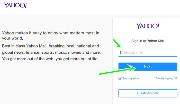 Yahoo Login For Email From Yahoo.com Sign In Page