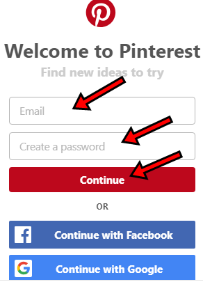 Steps To Pinterest SignUp With Email, Facebook Or Google Account