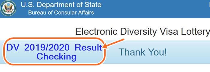 DV Lottery Result 2019 Entrant Status Check at www.dvlottery.state.gov 2020