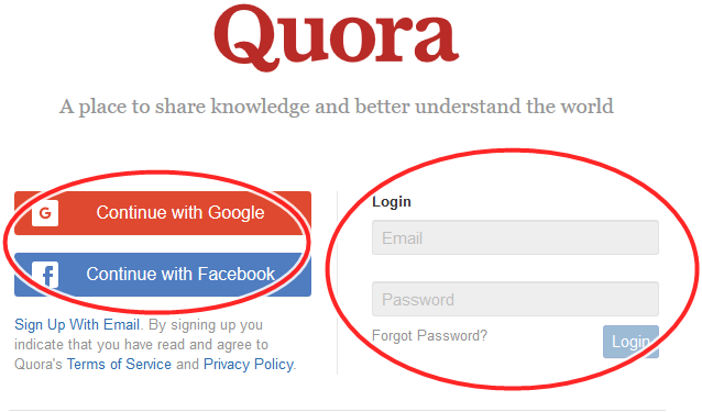 Quora.com Sign In Portal | Quora Login With Facebook Or Google