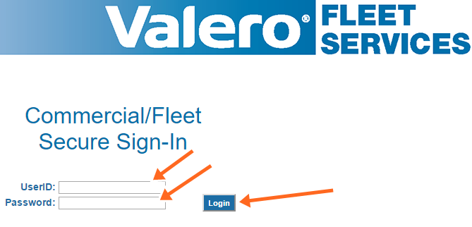 Valero Commercial/Fleet Secure Sign-In