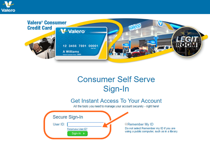 Valero Gas Card Log In for www.valero.com/mycard/payment