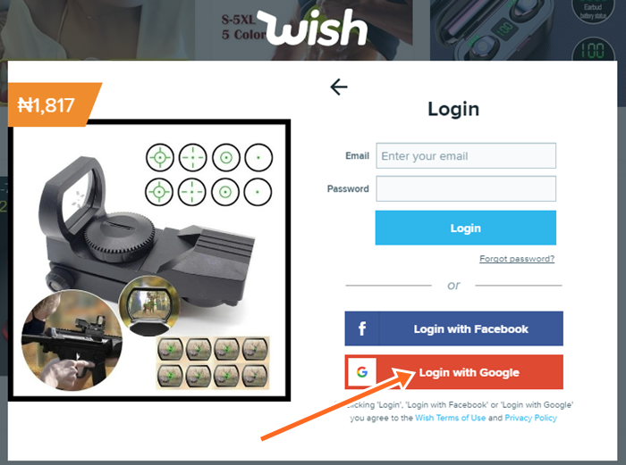 How to Sign In To Wish Account With Google