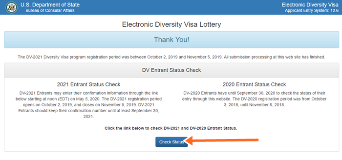 DV 2020/2021 Entrant Status Check, Free DV 2021 Application Lottery