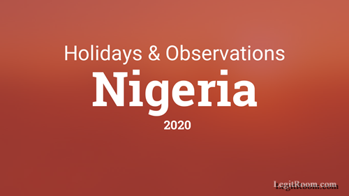 2020 Holidays List - Public Holidays & Observation Days In Nigeria