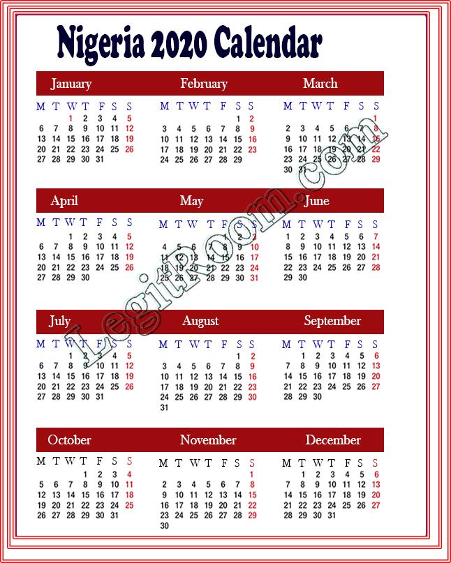 2020 Holidays List - Public Holidays & Observation Days In Nigeria