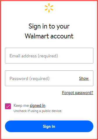 Walmart Login With Email Address