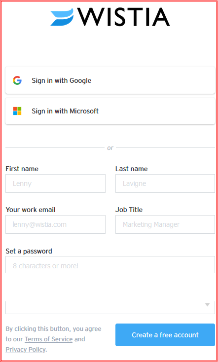 www.wistia.com Sign In With Email Address | Wistia Login Page