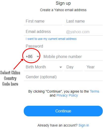 (+86) Yahoo.com Mail Registration - China Yahoo Mail Sign Up