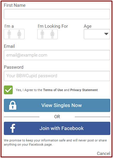 BBWCupid Dating Site Sign Up With Email Or Facebook