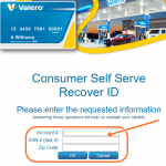 Recover ID for Valero Make A Payment